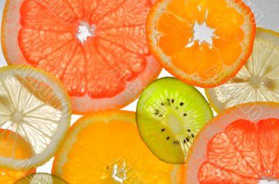 sliced fresh fruit for use background