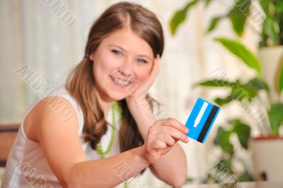 teen girl with blank credit card
