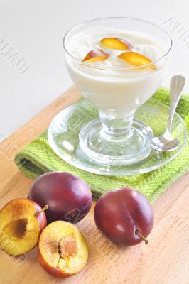 yogurt and plums fruit