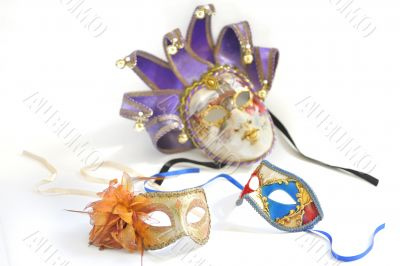 three Venetian masks for a party