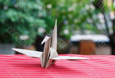 Origami Bird made of bag Paper