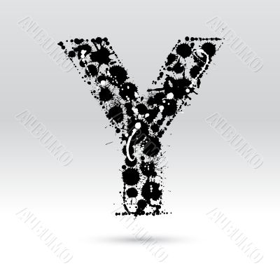 Letter Y formed by inkblots