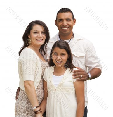 Hispanic Family Isolated on White