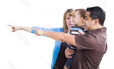 Mixed Race Couple Pointing With Son on White
