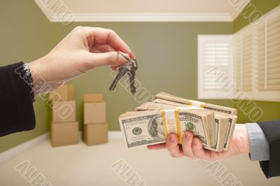Woman Handing Over Cash For House Keys
