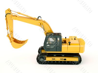 Excavator isolated with light shadow
