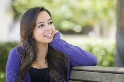 Mixed Race Female Student Portrait on School Campus