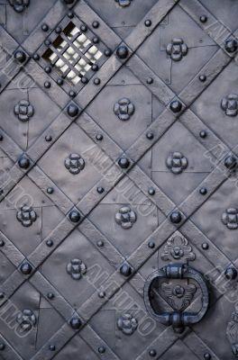 Ancient gray iron door