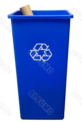 Trash can on white background with a roll of paper