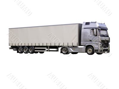 Semi-trailer truck isolated
