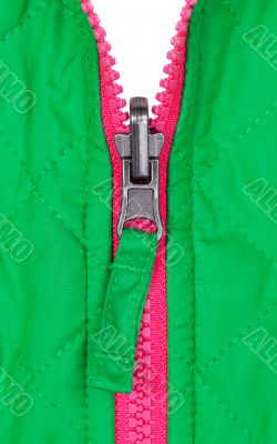 pink zipper on the green jacket