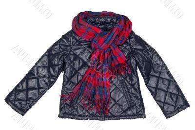 stylish jacket and plaid scarf