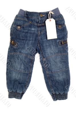 Children`s fashion jeans with label