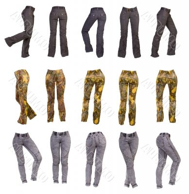 Stylish women`s pants, collage