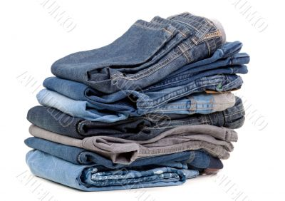 stack of blue jeans shade