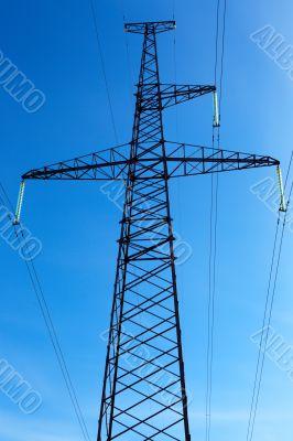 High-voltage line on blue sky background