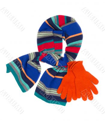 striped scarf and orange gloves