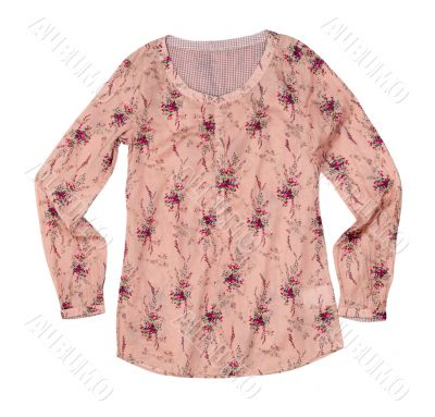 pink blouse with a floral pattern