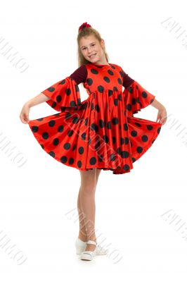 teen girl in a red dress with polka dots