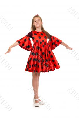 11 year old girl in a red dress