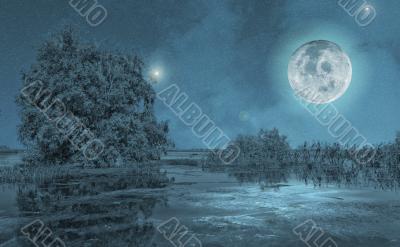 Night Moon Landscape