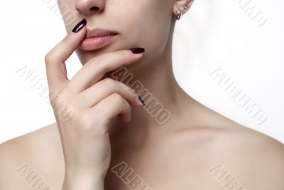 female hand, shoulder and lips