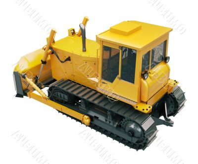 Heavy crawler bulldozer  isolated
