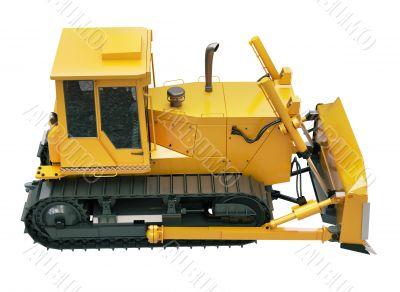 Heavy crawler bulldozer  isolated