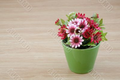Decorative flower on wooden desk