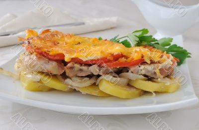 Meat and cheese with potatoes