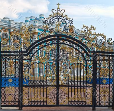 Gold gate, entrance to Catherine`s Palace, St. Petersburg