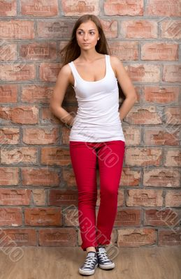 casual design girl in red trousers