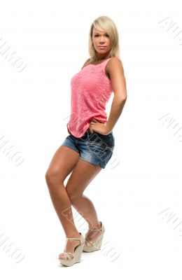 Tanned girl is dancing