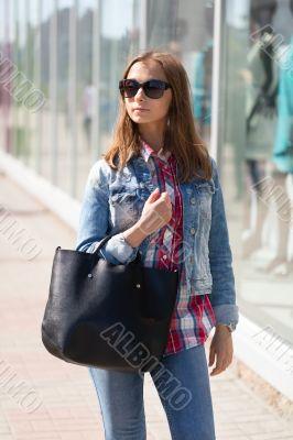 Woman with a handbag.