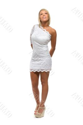 beautiful girl in a white lace dress