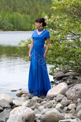Girl in blue evening dress