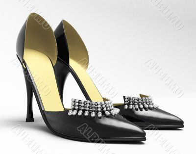 Black patent leather women`s high heels