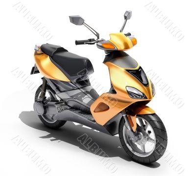 Trendy orange scooter close up
