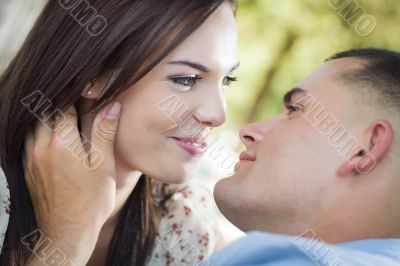 Passionate Mixed Race Romantic Couple Portrait in the Park