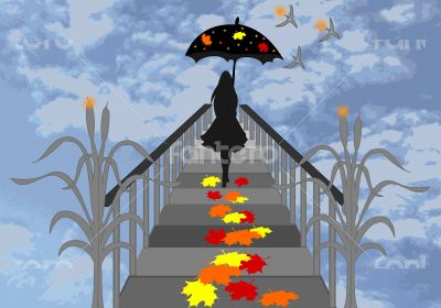 Girl with umbrella walking on the pier and falling maple leaves