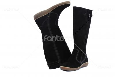 Warm winter womens black boots on white background