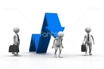 Man climb business arrow