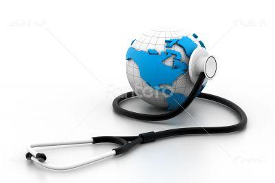 Globe with stethoscope - Global healthcare