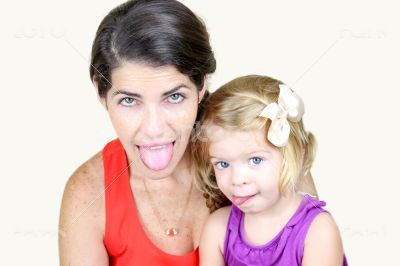 Mother And Daughter Making Silly Faces