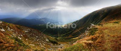 Autumn morning mountain plateau landscape