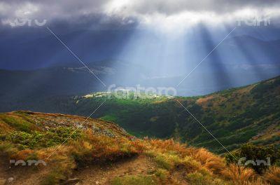 Autumn morning mountain plateau landscape (Carpathian, Ukraine)