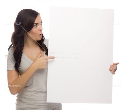 Beautiful Mixed Race Female Holding Blank Sign on White