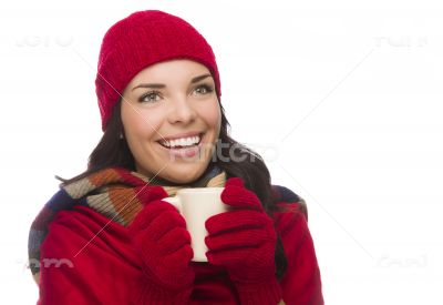 Mixed Race Woman Wearing Mittens Holds Mug Looks to Side