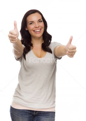 Pretty Mixed Race Female Model Giving Thumbs Up on White