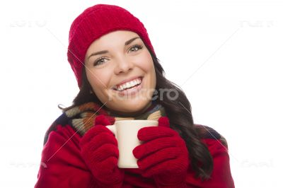 Mixed Race Woman Wearing Winter Hat and Gloves Holds Mug